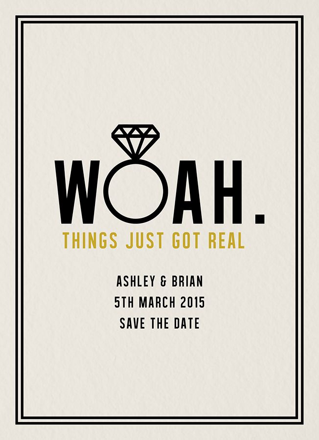 Woah Save The Date card by Daydream Prints