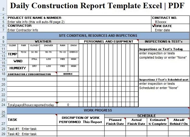 Daily Construction Report Template Excel | Report template ...