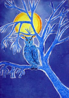 Owl in moonlight   You need:  white drawing paper A4 size oil pastel blue ink brush dish with water scouring pad See the moon shining throug...