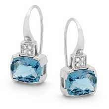 9ct white gold Blue Topaz and Diamond drop earrings from Chilton's Antiques