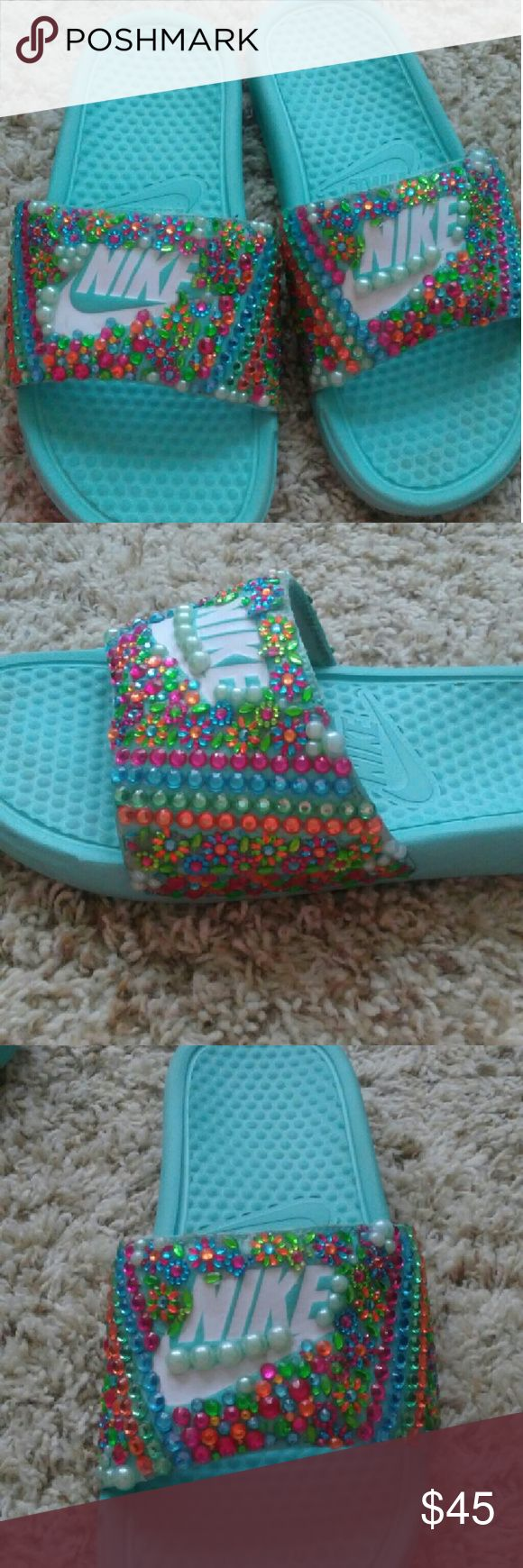 Custom Nike slides Very pretty nike slides with intricate design Nike Shoes Slippers