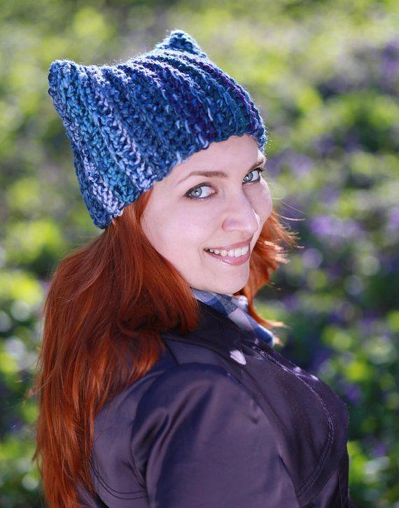 Blue winter animal hat with ears unisex adult Crochet navy blue beanie gift  idea chunky dog cat costume most popular item kawaii christmas 8da61ff9f