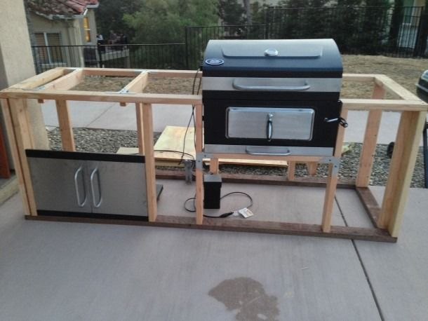 Wood Frame Bbq Island In 2020 Outdoor Barbeque Outdoor Bbq Kitchen Build Outdoor Kitchen