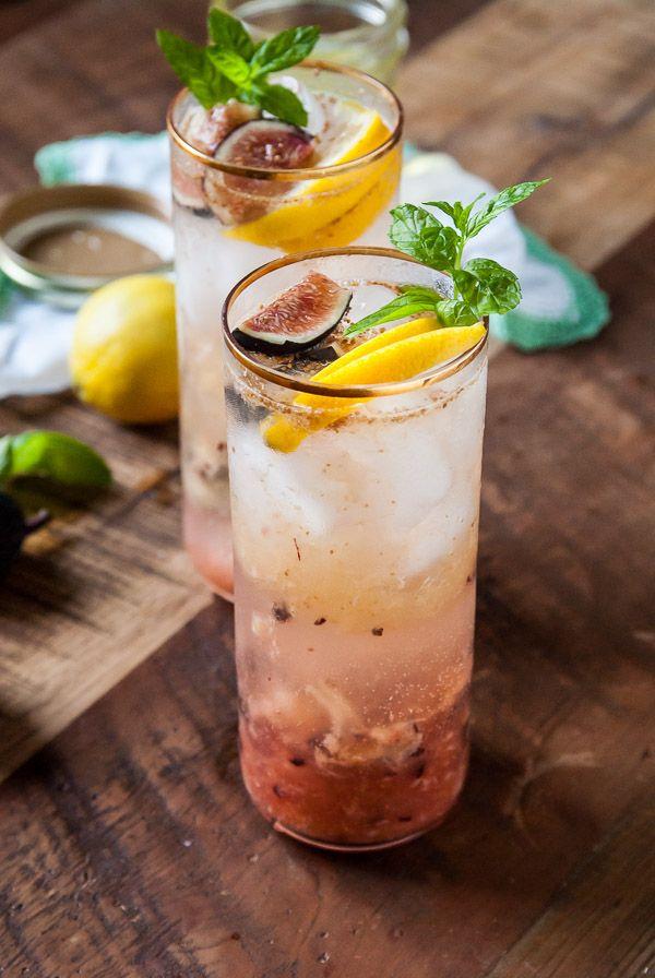 Fig and Lemon Sparkler with Basil Mint Simple Syrup//thefrostedvegan.com