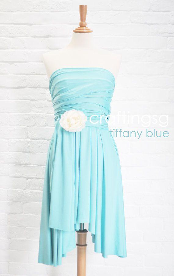 Bridesmaid dress infinity dress aqua blue knee length wrap for Wedding dresses with tiffany blue