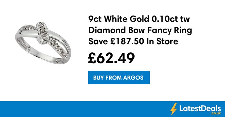 9ct White Gold 0.10ct tw Diamond Bow Fancy Ring Save £187.50 In Store Only, £62.49 at Argos