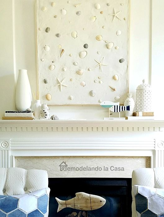 DIY Wall Decor With Grout And Shells For Above The Fireplace... Http: