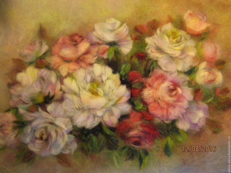 Купить Картина из шерсти  Пионо-розовая мечта - розовый, живопись шерстью, картины из шерсти