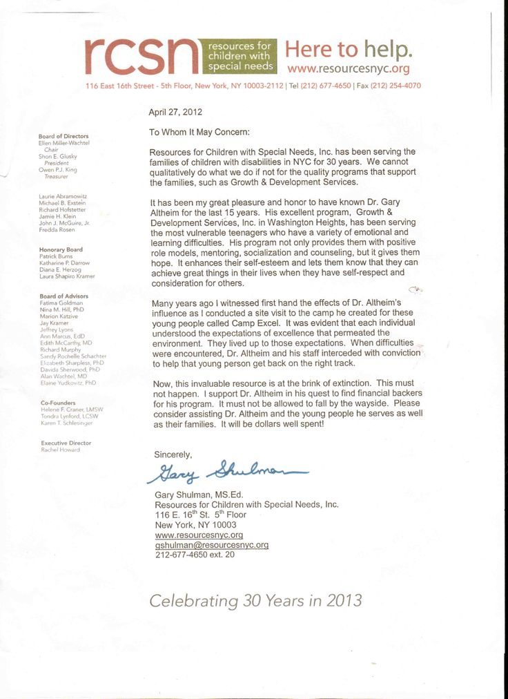 resources-for-children-with-special-needs-letter-of-endorsement - endorsement letter