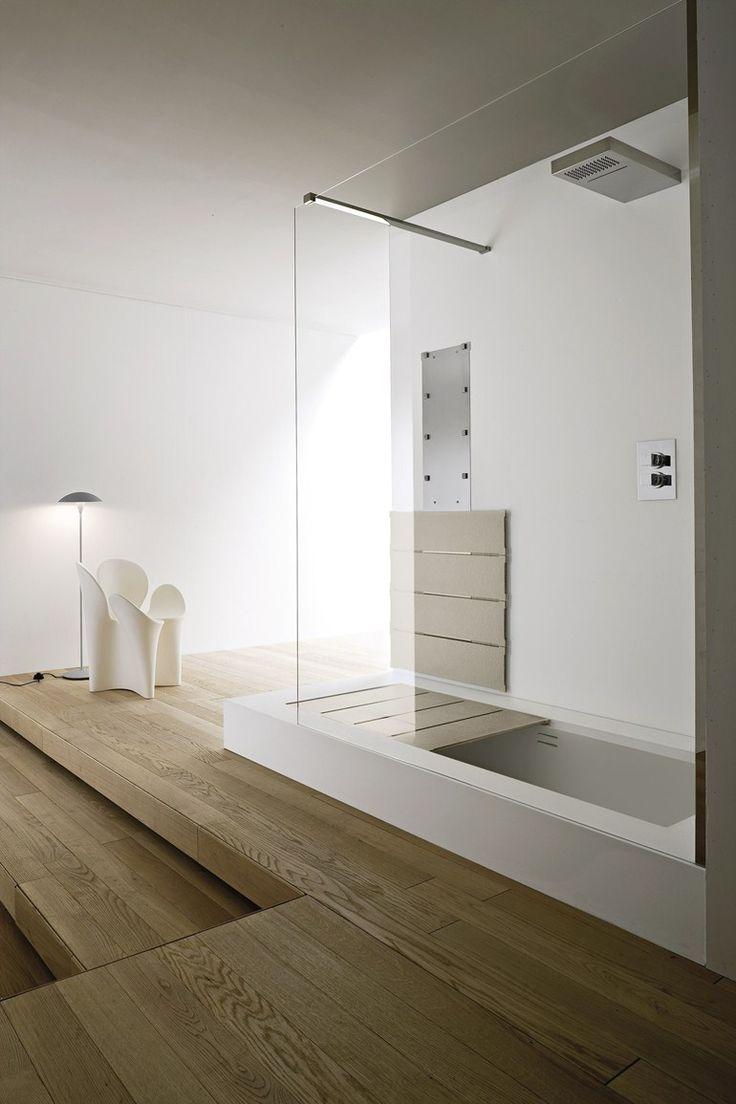 Vasca da bagno in Korakril™ con doccia da incasso Collezione Unico by Rexa Design | design Imago Design
