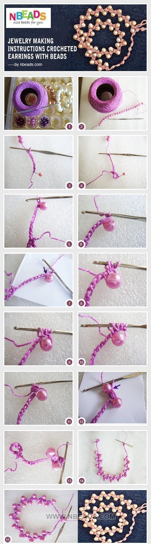 bead and crochet puff stitch necklace / bracelet