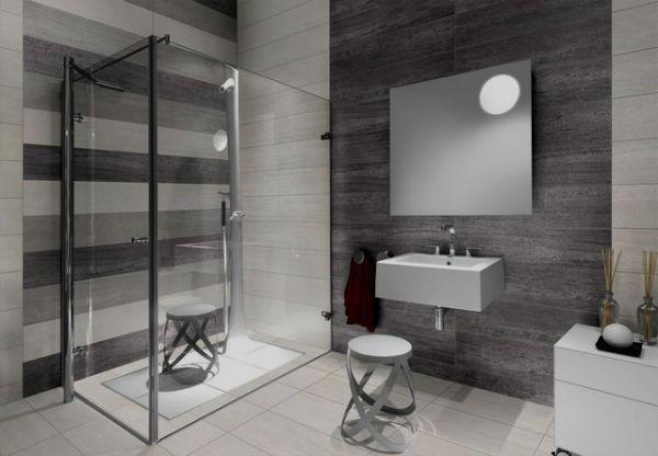 Эффектная серая плитка в ванной комнате