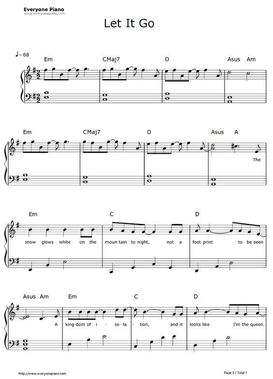 Free Let It Go Easy Version-Frozen Theme Sheet Music Preview 1