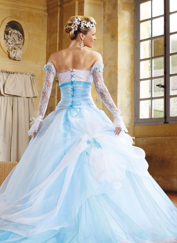Robe de mariée Eli Shay, Domino blanc et turquoise