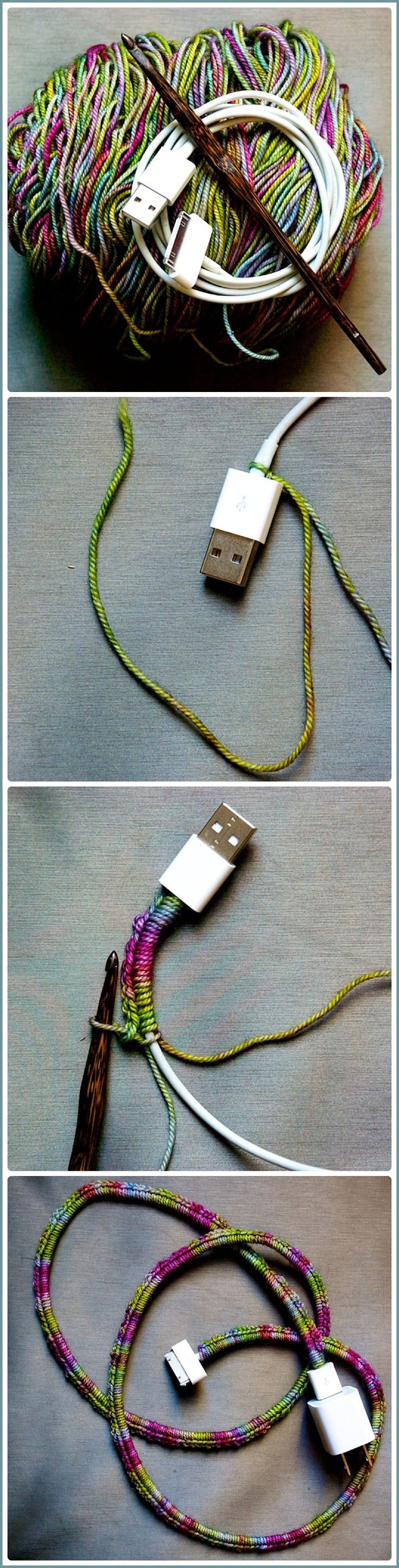 Single crochet around your charger cord - no one will mistake it for theirs anymore! http://throughtheloops.typepad.com/through_the_loops/2014/10/happy-friday.html