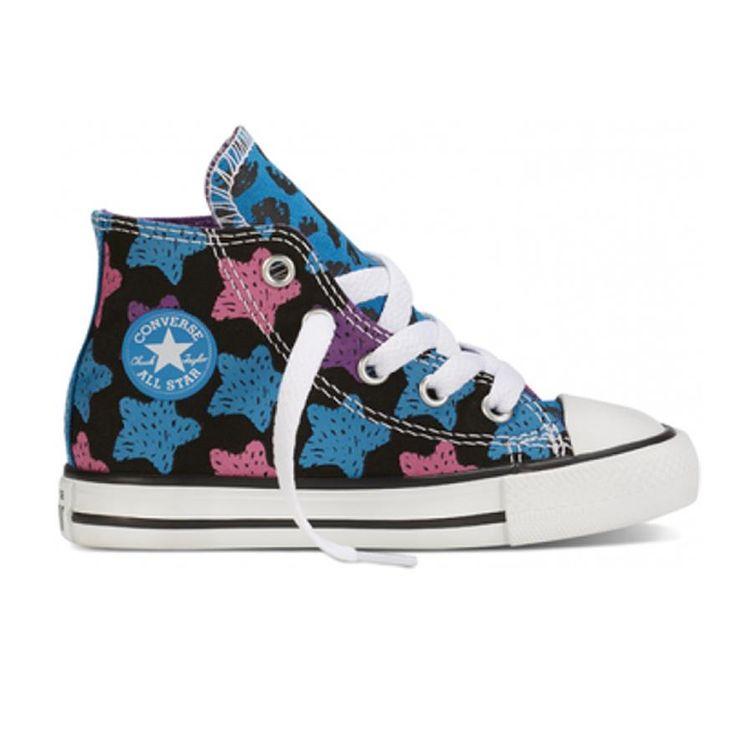 Converse CT ALL STAR ANIMAL COLOR PRINT Cyan/Noir/Rose Dahlia (750115C) - Chaussures De Toile pour Filles | Chaussures Panda #kids shoes #fall2015 #converse