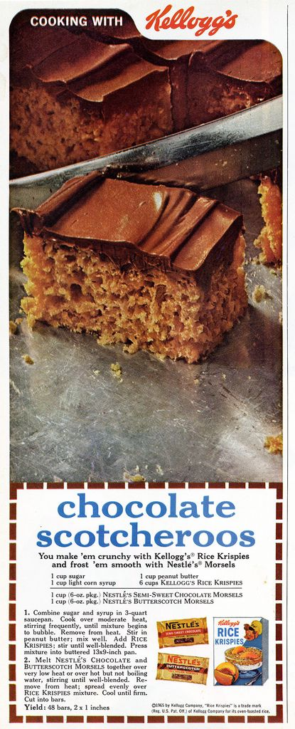 Kelloggs Chocolate Scotcheroos using Rice Krispies and chocolate chips Vintage Recipe Ad 1965