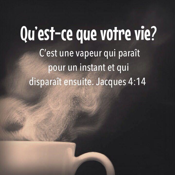 La Bible - Versets illustrés - Jacques 4:14 - Qu'est-ce que votre vie? C'est une vapeur qui paraît pour un instant et qui disparaît ensuite.