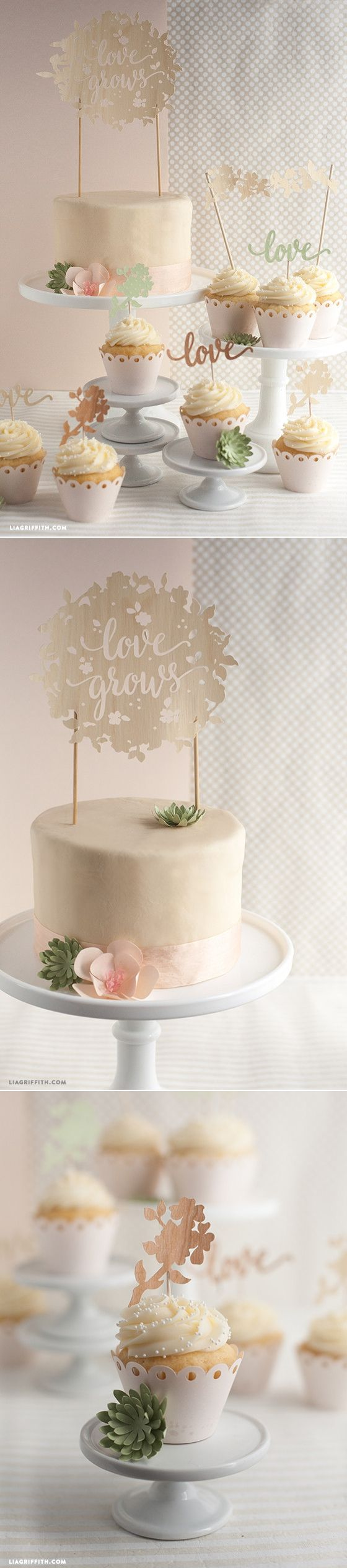 #DIYWedding Cake and Cupcake Topper pattern at www.LiaGriffith.com