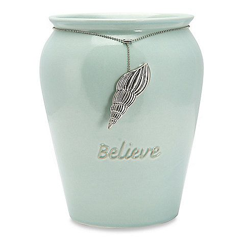 Coastal Charms Waste Basket: Inspired by tropical seas, the elegant Coastal Charms Waste Basket features a gorgeous crackled glaze finish in sea blue and a conch shell charm medallion that are sure to add tranquility and beauty to your bathroom décor.