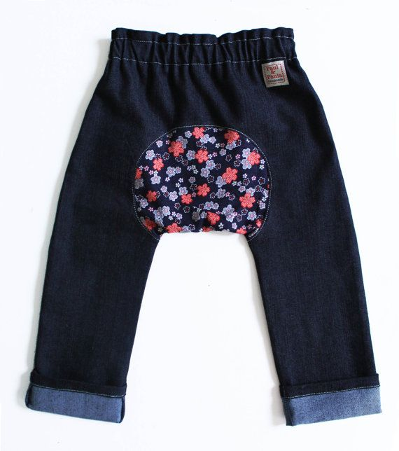 Paul & Paula Skinny jeans japanese flowers. $39.00, via Etsy.