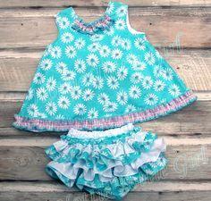 Daisy Ruffle Bloomer, Pinafore Set, Ruffle Diaper Cover Set & Ruffle Pinafore Dress Baby - Toddler ruffle skirts 5624