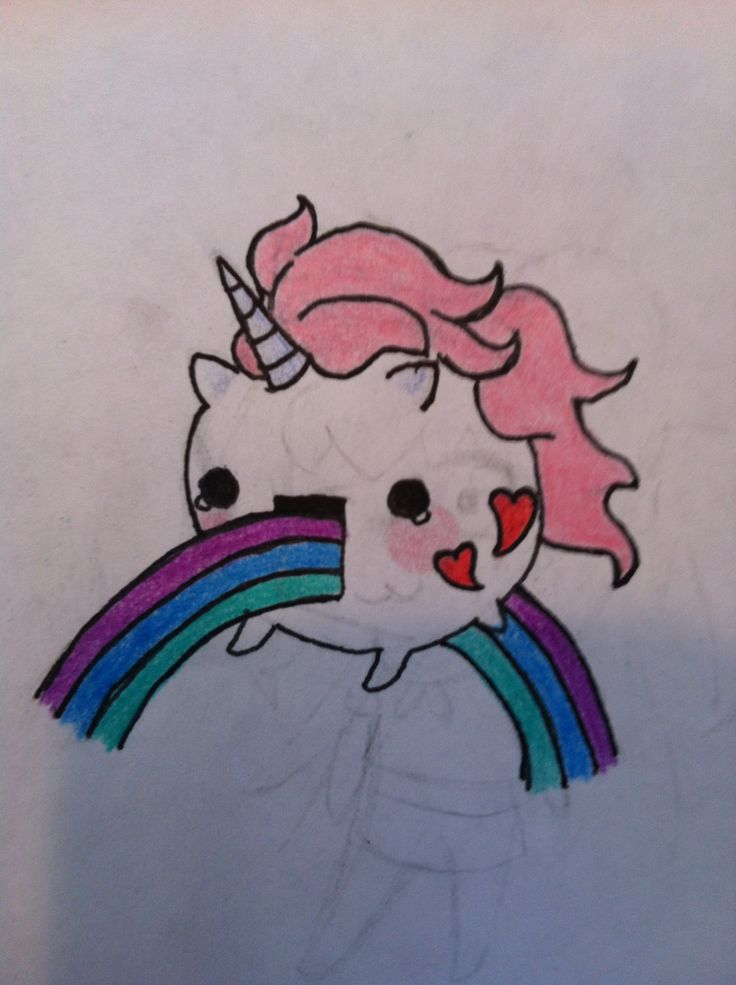 Cute drawing of unicorn eating a rainbow by me lauren for Cute drawing ideas