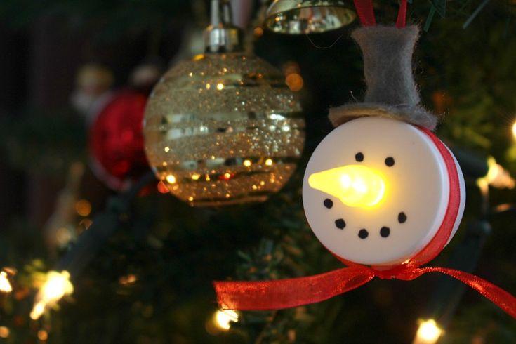DIY Electric tealight snowman