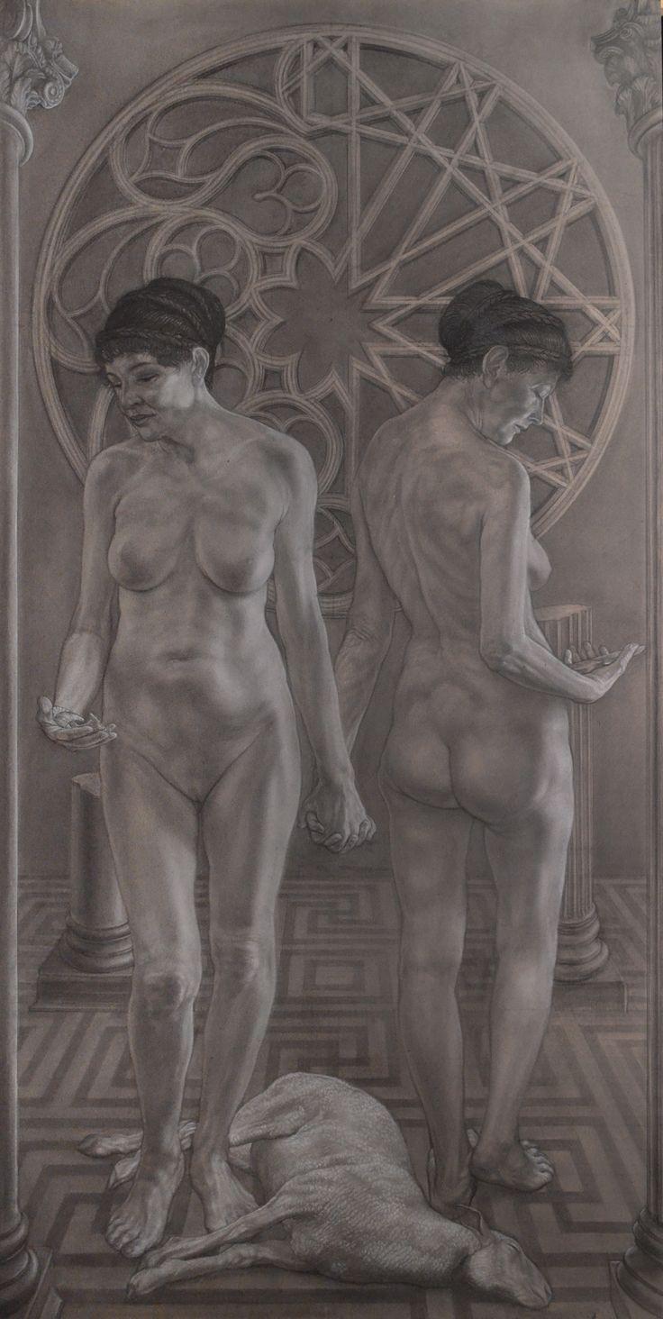 """""""The two Hypatias"""" pencil and white conté cm 100x200"""