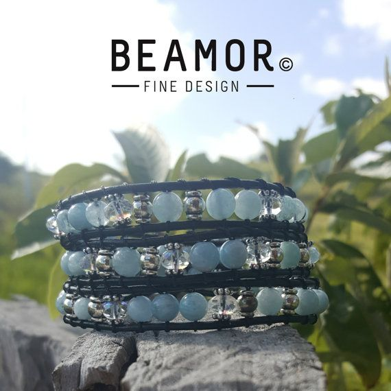 Check out this item in my Etsy shop https://www.etsy.com/au/listing/467592414/aquamarine-triple-leather-wrap