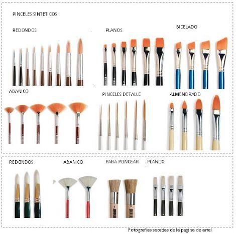 Tipos de pinceles:       Pincel escolar: Están fabricados de filamentos durables o fibras sintéticas, que retienen el color para hacer tr...