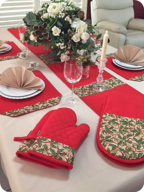 Select quality Australian Made products including Place Mats, Table Runners, Ladies Aprons, Oven Mitts to brighten up your Christmas table or kitchen.  Visit http://coversnmore.com.au/christmas  Custom Made Table Cloths and matching napkins arriving soon.  Secure your order now in time for Christmas.