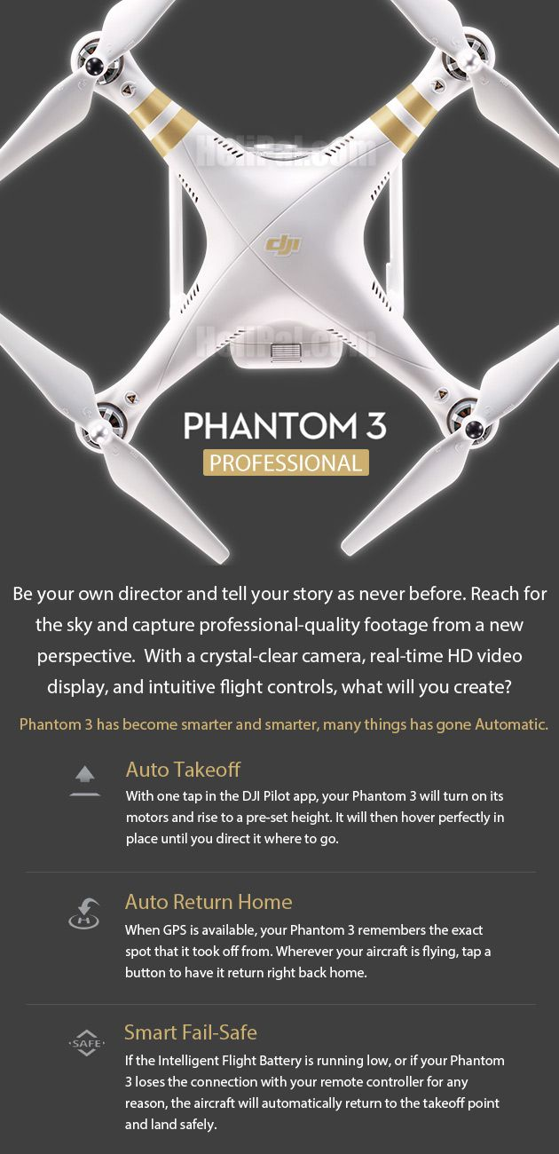 Buy now for Free Shipping! The New Perspective  -  DJI Phantom 3 Professional GPS Drone (V2) You are looking at the Third Generation of the famous Phantom Series, the latest Phantom 3 - the Smallest Portable Aerial Filming Platform ever