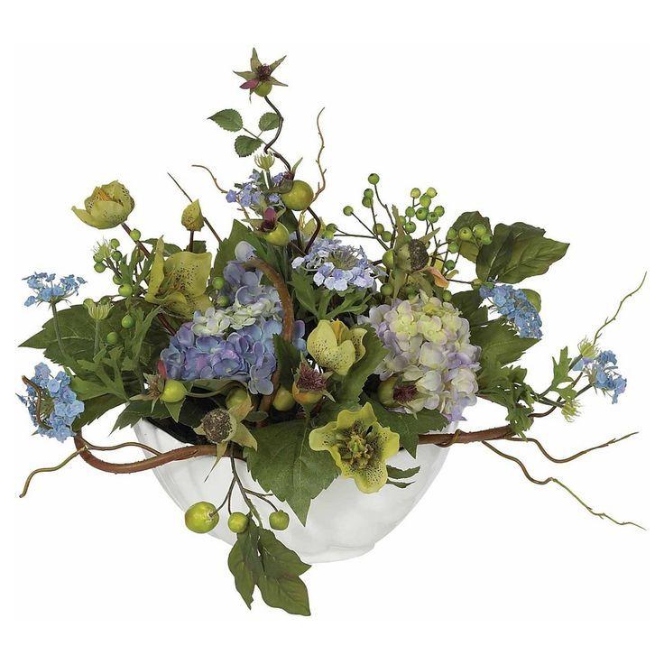 Nearly Natural Hydrangea Centerpiece Blue With Images Silk Flower Centerpieces Silk Hydrangeas Centerpiece Hydrangea Arrangements