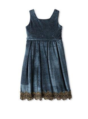 66% OFF Isabel Garreton Kid's Velvet V-Back Dress (Blue)