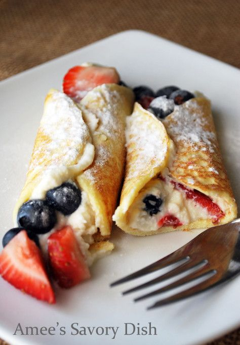 Berry Stuffed Cottage Cheese Crepes | Great for breakfast, brunch or dessert!