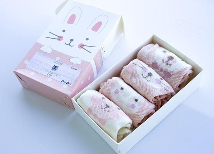 Box Set Critter/Animal/Character Socks Size 6-12M: Pink/White K1029 by KorkeKids on Etsy