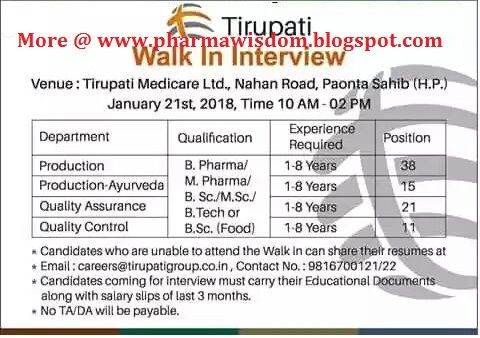 PHARMA WISDOM: Tirupati Medicare Ltd - Walk-In Interviews