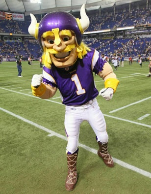 Viktor the Viking is one of the Minnesota Vikings mascots. According to legend, Viktor was born in 960 AD but thawed in ice by the Norse god Thor to await the time when he would thaw and fulfill his destiny. That time was the summer of 2007. After thawing on the shores of Lake Superior, Viktor heard rumors of purple clad Vikings that engaged in battle every Sunday. Thrilled at this news, Viktor raced south to these Vikings of the gridiron and took his place on the team.
