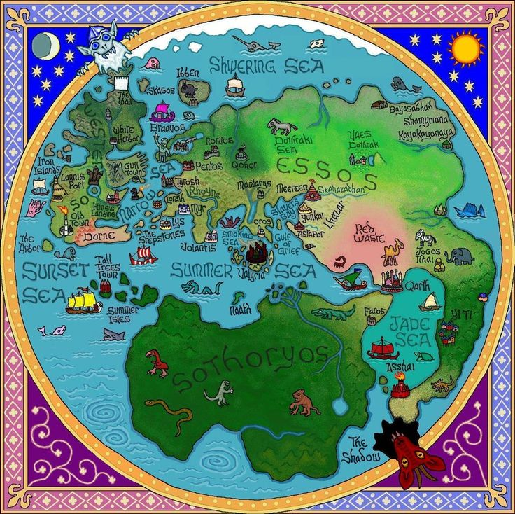 """Is anyone else ever annoyed that the maps included in the Song of Ice and Fire books do not include maps of where Daenerys is? This is a fan-created """"World Map""""...I might need to print it as a reference as I read A Storm of Swords... #books #reading"""