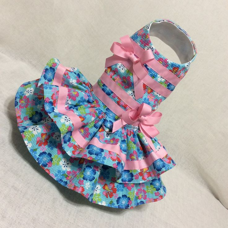 A personal favorite from my Etsy shop https://www.etsy.com/listing/263772278/pink-and-bluetutti-frutti-dog-dress