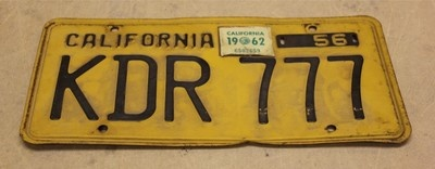 "Sweet Vintage California License Plate Tag ""KDR 777"" 1956 Yellow and Black"