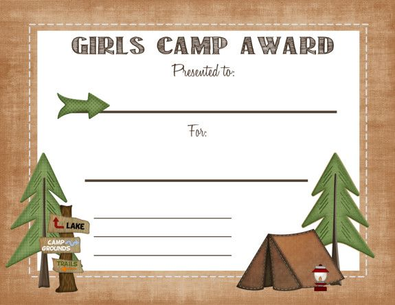 Free Printable girls camp award certificate