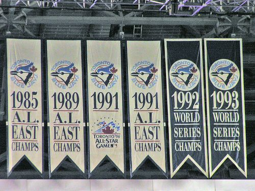 From 1985–1993, the Blue Jays were an AL East powerhouse, winning five division championships in nine seasons, including three consecutive from 1991–93. During their run of three straight division championships, the team also became back-to-back World Series champions from 1992–93