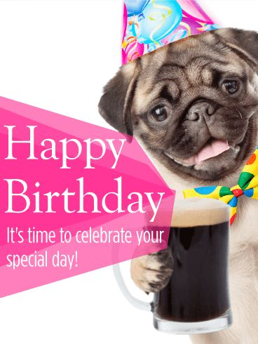 "Cheers to Your Birthday! Animal Birthday Card: Do you want to give your loved one a birthday that is almost too good to be real? Then start the celebrations with the ""unreal"" dog on this Happy Birthday card! The adorable, party-going pug will make the birthday boy or girl laugh and show that you're excited for their special day. Send your birthday wishes with this birthday card before the day is over!"