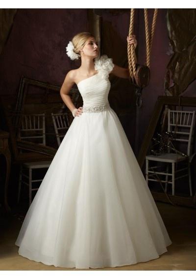 Organza One-Shoulder A-Line Style with Floral Shoulder Strap Wedding Dress WML-0015