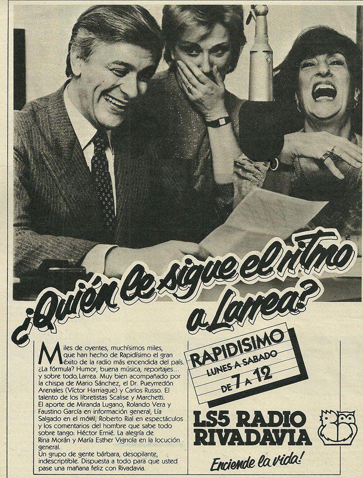 Publicidad del programa RAPIDÍSIMO, conducido por Héctor Larrea, Radio Rivadavia, Buenos Aires, década del 70.