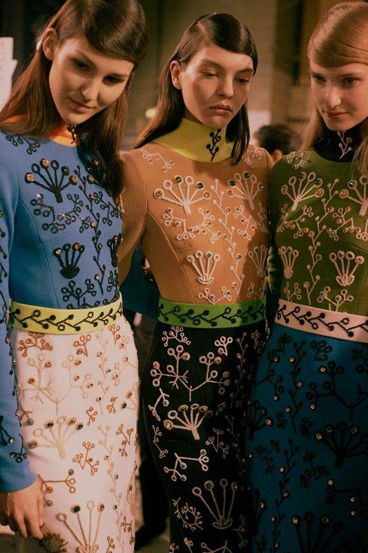 Swarovski embellished dresses backstage at Peter Pilotto AW15 LFW. See more here: http://www.dazeddigital.com/fashion/article/23773/1/peter-pilotto-aw15