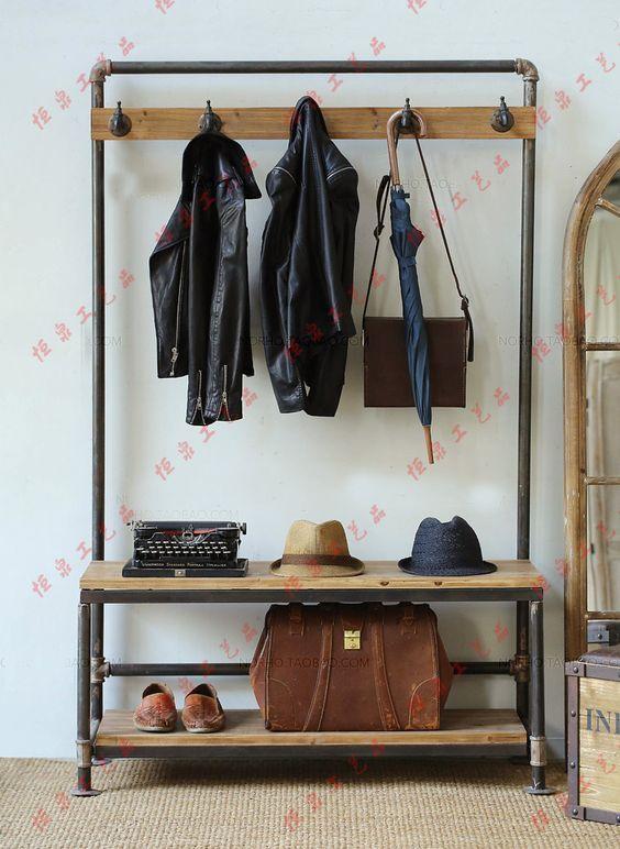 Nordic American country industrial pipes iron coat rack floor display vintage…