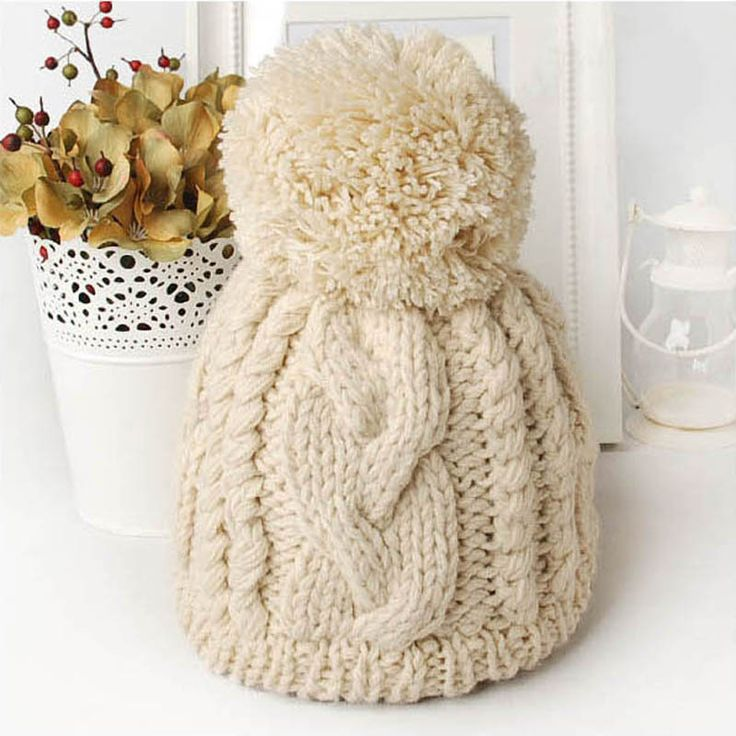 Big Pompom Hats Solid Color Women's Caps Winter Knitted Skulies & Beanies Free Shipping Acrylic Cable Thick Hats for Women #>=#>=#>=#>=#> Click on the pin to check out discount price, color, size, shipping, etc. Save and like it!